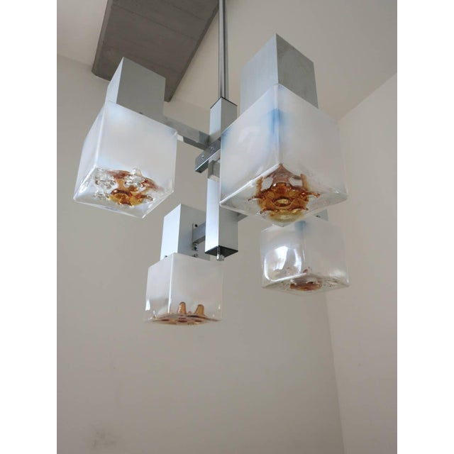 Italian Cubes Pendant by Mazzega For Sale - Image 3 of 5