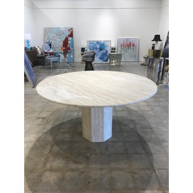 Vintage Mid-Century Modern Travertine Dining Table For Sale - Image 4 of 4