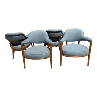 Ward Bennet Style Wood Chairs With Upholstery - 4 Available For Sale
