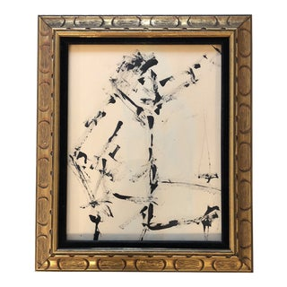 Original Vintage Ink Painting Figure Study For Sale
