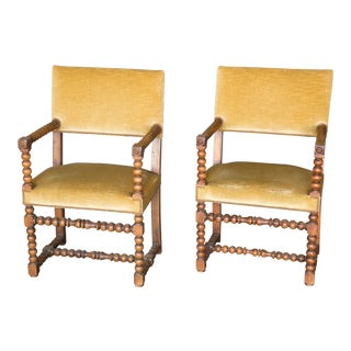Pair of 19th Century Walnut Bobbin Chairs For Sale