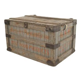 19th Century American Country grey painted slat design floor trunk For Sale