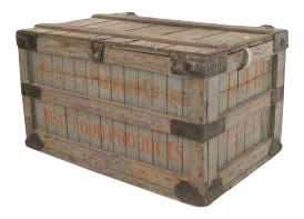 American Country (19th Cent) Grey Painted Slat Design Floor Trunk
