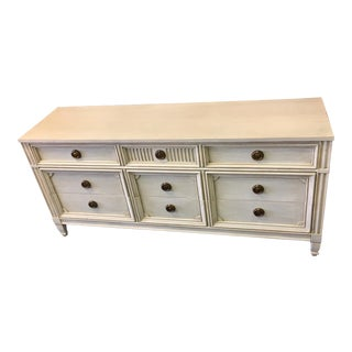 Gray Lowboy Dresser With Circular Brass Pulls