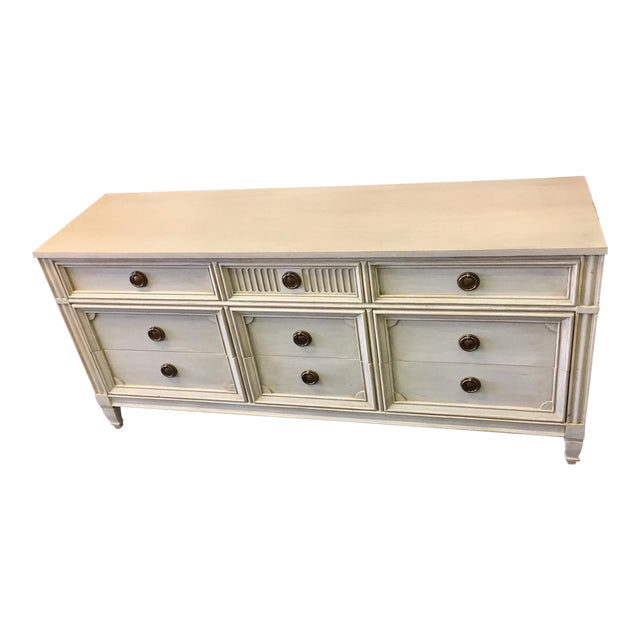 Gray Lowboy Dresser With Circular Brass Pulls For Sale