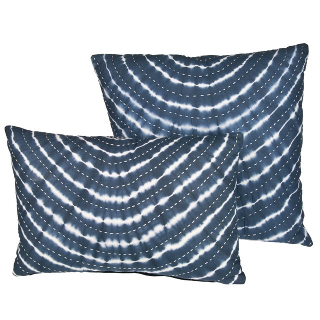Recycled Cotton Kantha Stitch Pillows - Pair For Sale