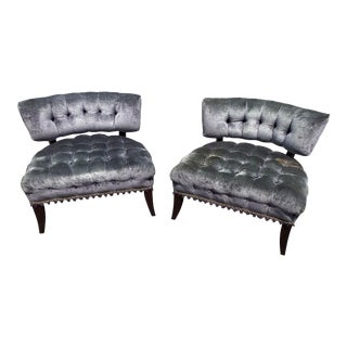 Vintage Mid Century Curved Quilted Velour Lounge Chairs - a Pair For Sale