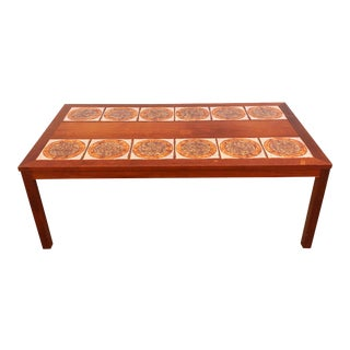 Mid-Century Modern 50's Danish Teak and Tile Coffee Table For Sale