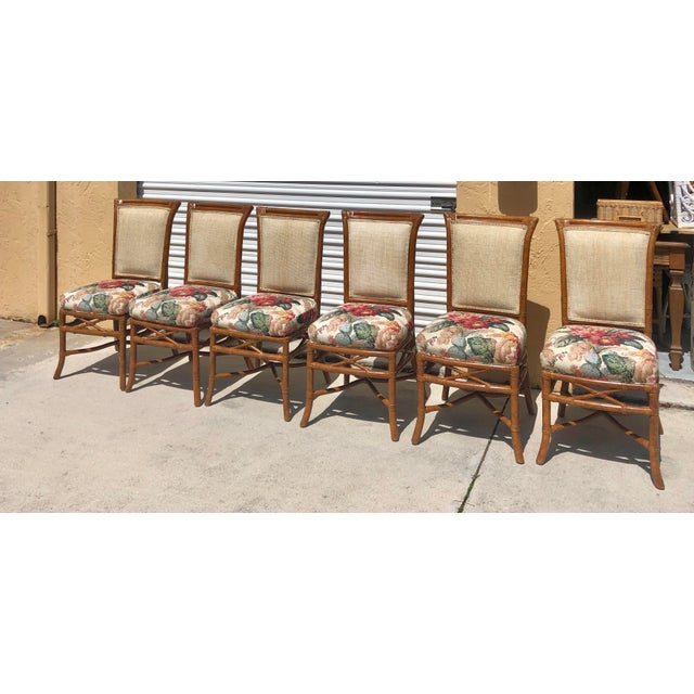 McGuire or Palecek Bamboo Leather Wrapped Dining Chairs- Set of 8 For Sale - Image 12 of 12