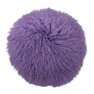 Tibetan Lamb Pillow in Lavender For Sale