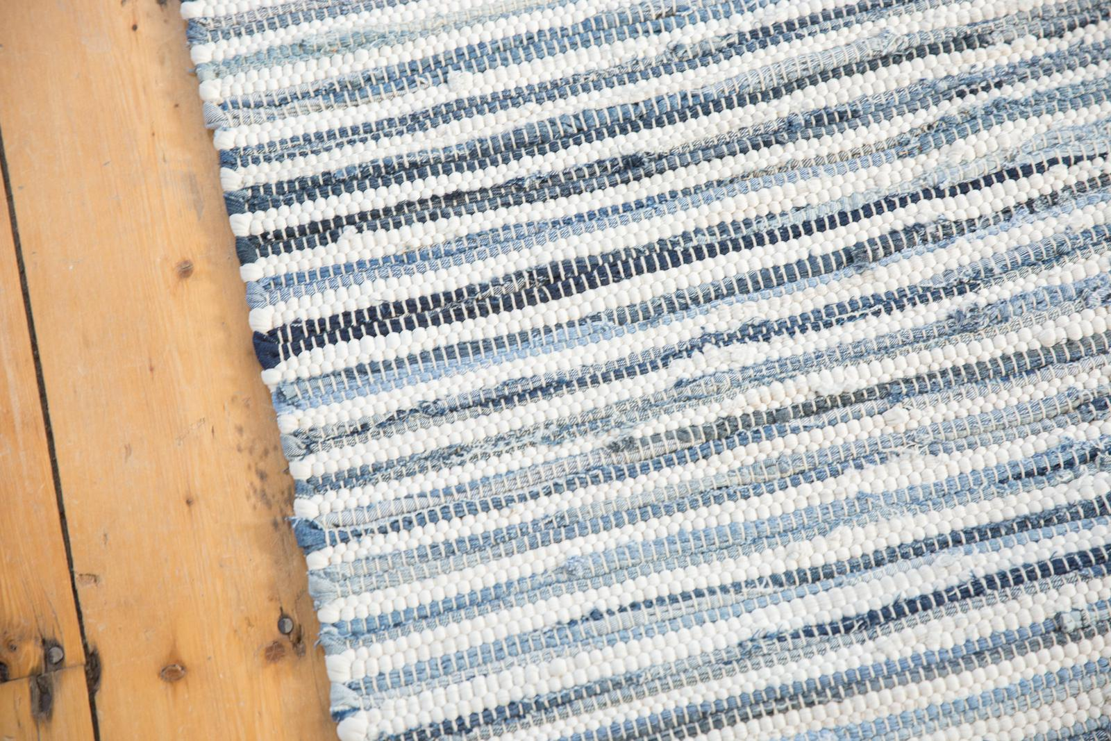 Denim And White Handmade Rag Rug 2 6 X 8 Chairish