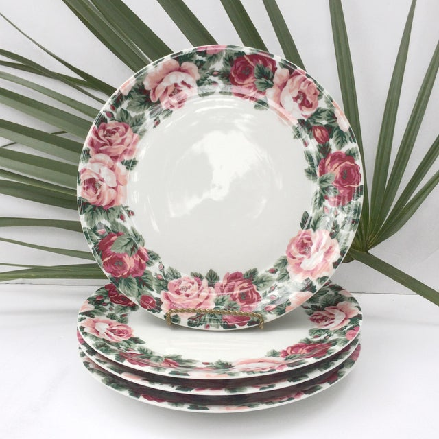 Set of 4 Block Spal floral plates in the Rose Garden flower pattern. These beautiful, heavy white plates have a red and...