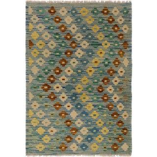 Kilim Arya Cinda Blue/Ivory Wool Rug -2'10 X 4'2 For Sale