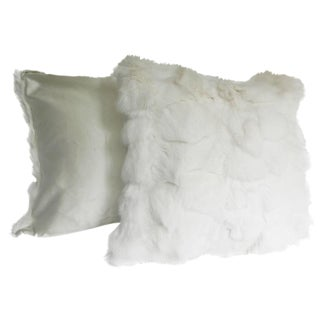 White Fox Pillows With Silk Lining - A Pair For Sale