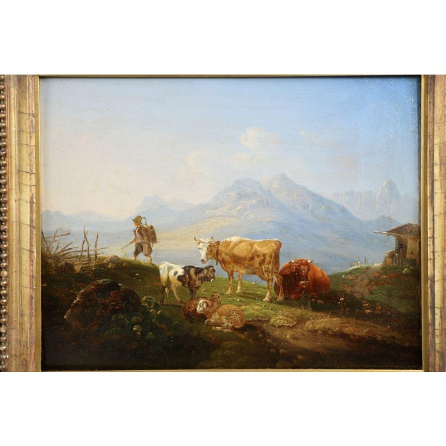 Country German School Mountainscape Sheep and Cattle Oil Painting, 19th Century For Sale - Image 3 of 9