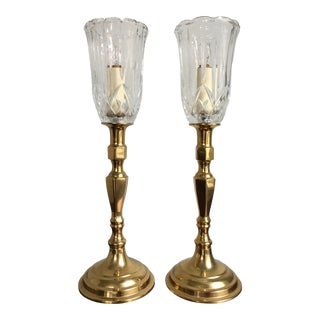 Vintage Hollywood Regency Brass and Crystal Table Lamps - a Pair For Sale