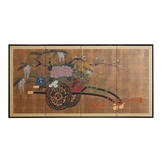 Japanese Four Panel Screen Gold Leaf Flower Cart For Sale