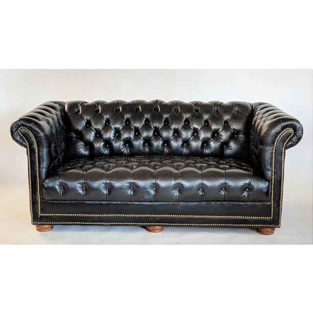 1970s Vintage Black Leather Chesterfield Sofa   Chairish
