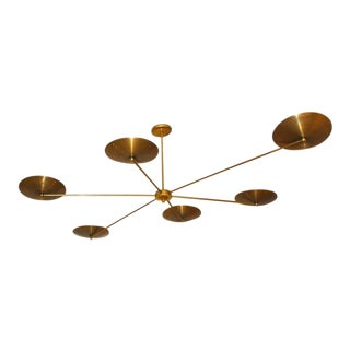 1960s Mid-Century Gold Brass Chandelier For Sale