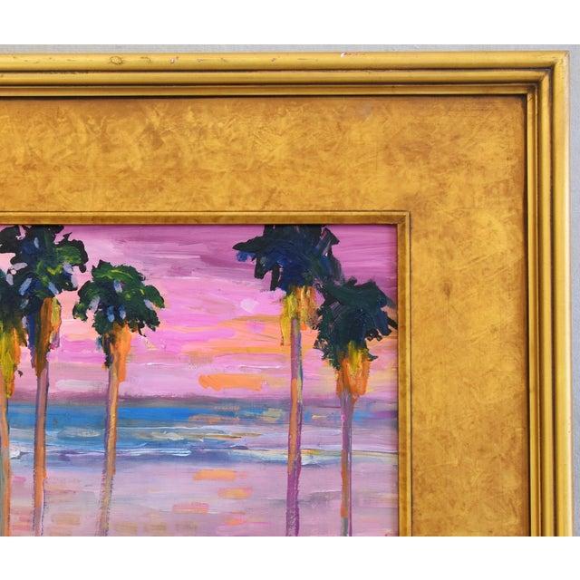 Juan Pepe Guzman Ventura Seascape Landscape W/ Palm Trees & Sunset Oil Painting For Sale - Image 4 of 9
