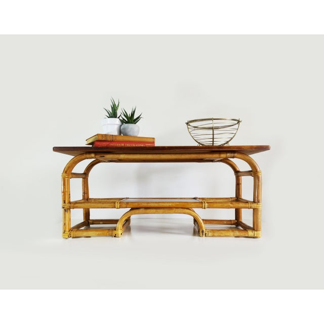 Boho Chic 1970s Boho Chic Bamboo Coffee Table For Sale - Image 3 of 9