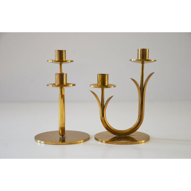 Modern Brass Candle Holders by Gunnar Ander for Ystad Metall-a Pair For Sale In Richmond - Image 6 of 10