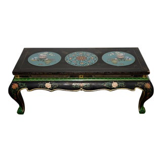 1940s Vintage Black Lacquer & Turquoise Blue Cloisonne Chinese Coffee Table For Sale