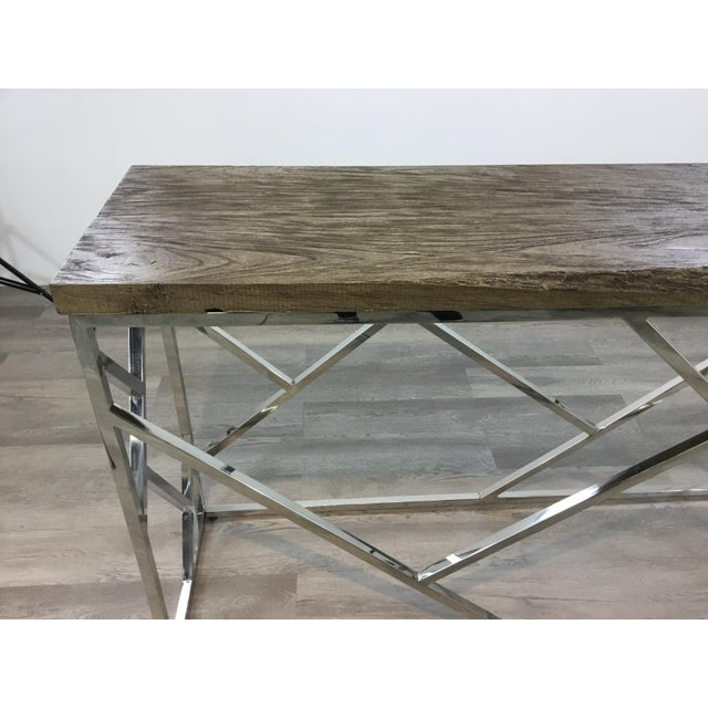 Industrial Modern Reclaimed Teak Wood and Stainless Steel Console Table For Sale In Atlanta - Image 6 of 7
