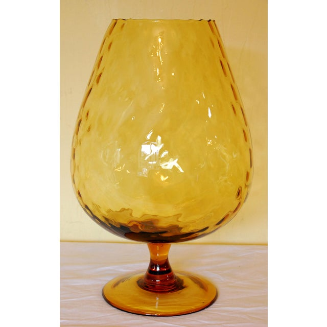 Mid Century Amber Glass Empoli Glass Brandy Snifter Chairish