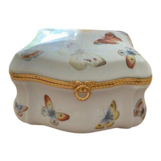 1970s Limoges France Butterfly Porcelain Trinket Box For Sale