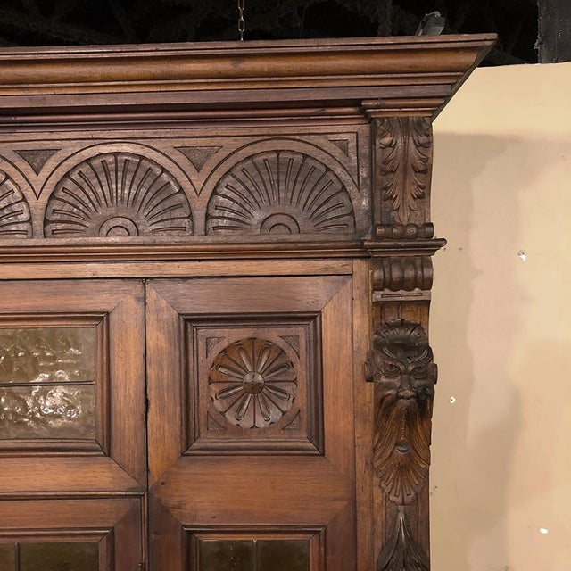 Grand 19th Century Italian Renaissance Stained Glass Bookcase For Sale - Image 10 of 13