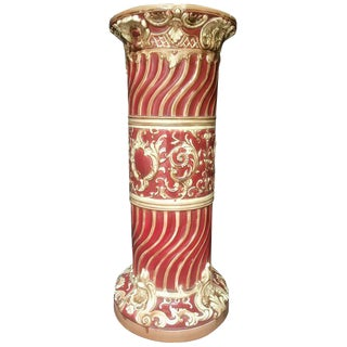 19th Century Antique Majolica Jardinière Pedestal For Sale