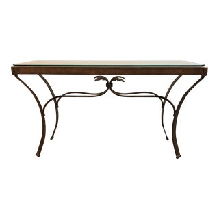 Bronze Finished Metal + Glass Console For Sale
