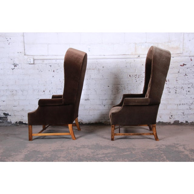 Midcentury Brown Velvet Porter's Chairs, Pair For Sale In South Bend - Image 6 of 12