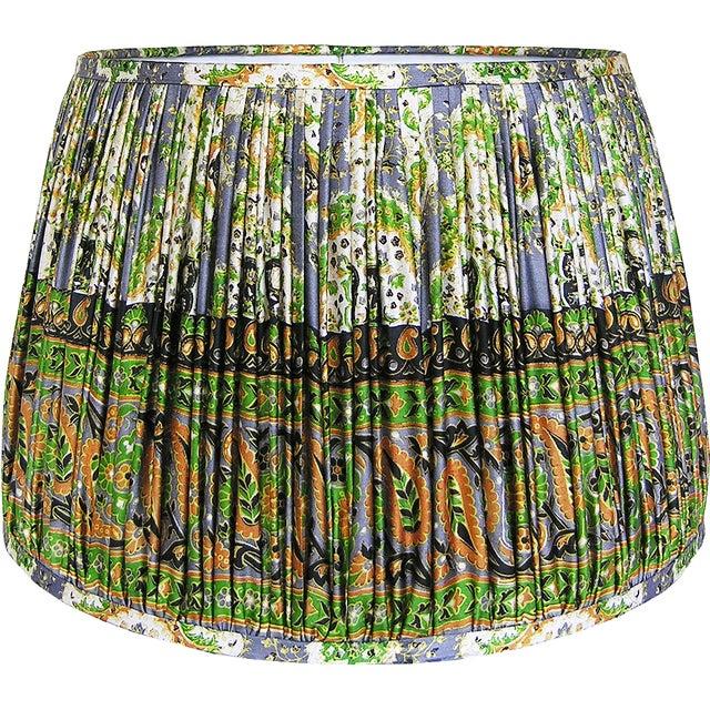 Green/Mustard/Steel Blue Silk Sari Lamp Shade For Sale - Image 4 of 4