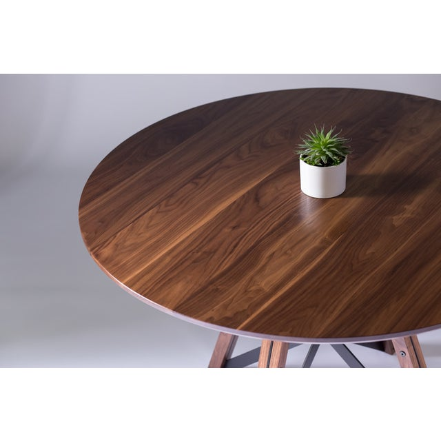 Contemporary Trestle Dining Table - Walnut For Sale - Image 3 of 6