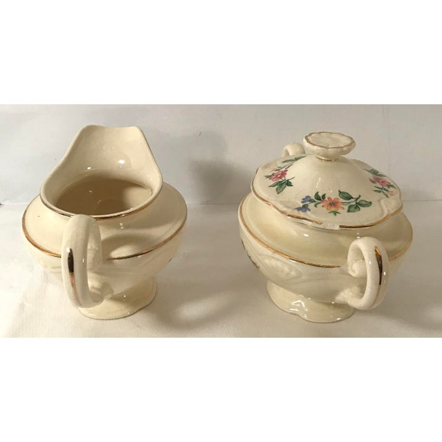 Early 20th Century Homer Laughlin Floral Creamer and Sugar Bowl For Sale - Image 5 of 11