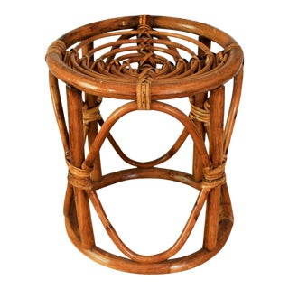 Vintage Boho Style Rattan Plant Stand For Sale