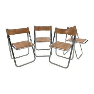 "1970s ""Tamara"" Folding Leather and Chrome Chairs by Arrben - Set of 4 For Sale"