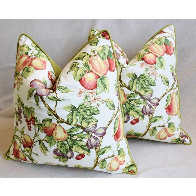 "P. Kaufmann Bountiful Fruit Feather/Down Pillows 24"" Square - Pair For Sale - Image 9 of 13"