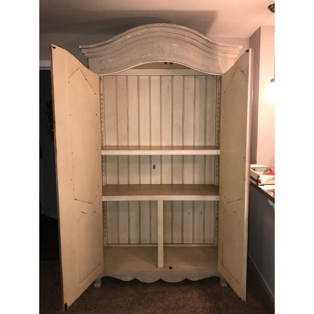 Traditional Armoire with a Modern Twist Distressed Two-Tone Color Wood Acid Wash Mirrors on both Doors Two Adjustable...