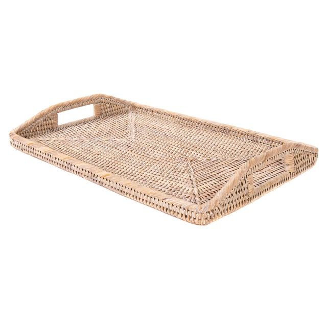 Artifacts Rattan Rectangular Tray With High Handles For Sale - Image 4 of 6