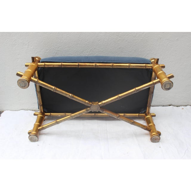 Gilt Faux Bamboo Bench For Sale - Image 10 of 11