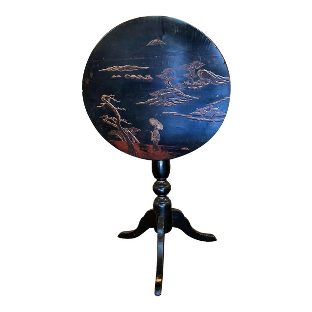 Black Lacquer and Painted Chinoiserie Tilt Top Table For Sale
