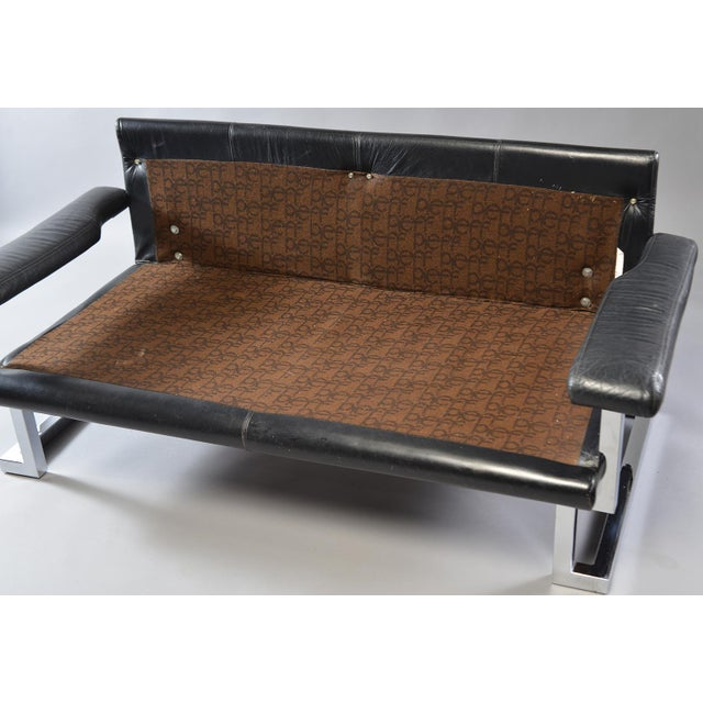 Black Leather and Chrome Sofa by Tim Bates for Pieff & Co For Sale In Detroit - Image 6 of 8