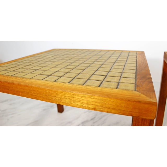 1960s Mid-Century Modern Gordon & Jane Martz Green Tile-Top Walnut Side Tables - a Pair For Sale In Detroit - Image 6 of 9