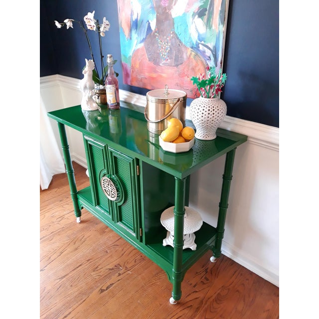 Green Hollywood Regency Lacquered Green Faux Bamboo Bar Cart For Sale - Image 8 of 13