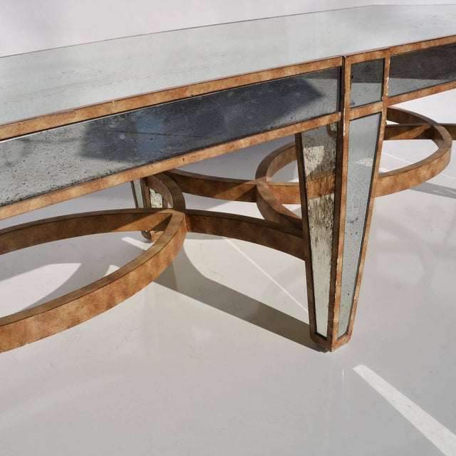 Hollywood Regency Coffee Table in Antiqued Mirror For Sale - Image 4 of 6