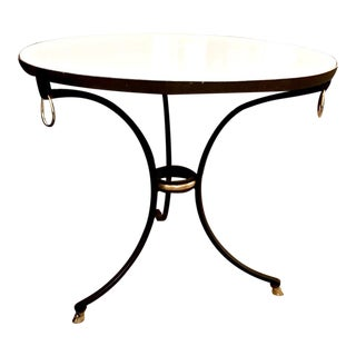 Pair Jansen-Style Wrought Iron & Marble Neoclassical Side Tables , C.1970-1980