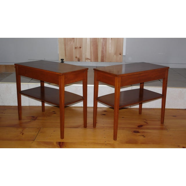 Brown Vintage Pair Traditional Federal Mahogany End Tables Nightstands Mersman Tables For Sale - Image 8 of 13